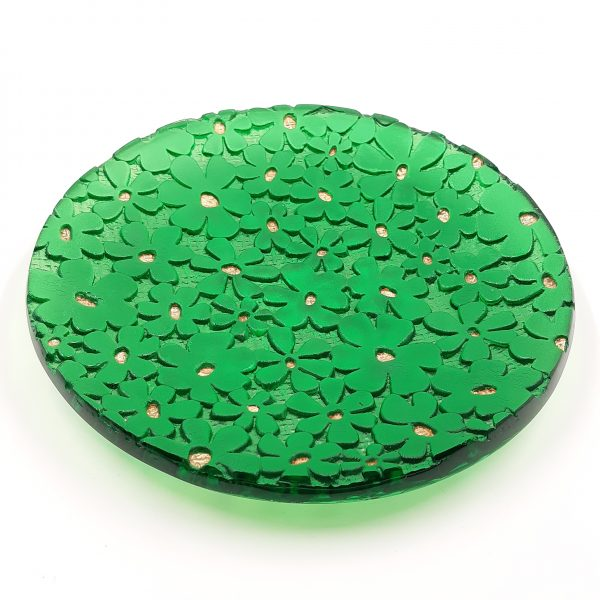 Green glass bowl with daisy pattern