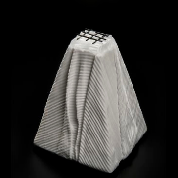Barred Within - black and white glass sculpture by Deborah Timperley, part of her Dialogue at the Threshold collection