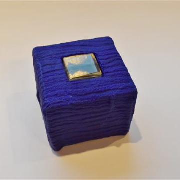 Contained Dialogue - lapis blue glass sculpture by Deborah Timperley, part of her Dialogue at the Threshold collection