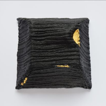 Revealed - black and gold glass sculpture by Deborah Timperley, part of her Dialogue at the Threshold collection